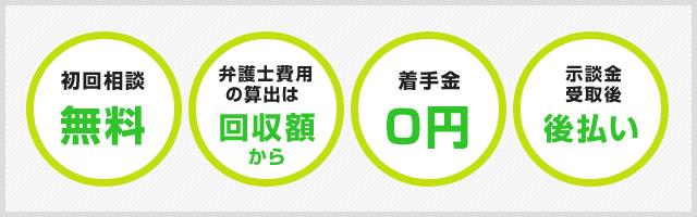 依頼者様の事を考え抜いた弁護士費用! (1)成功報酬型で、着手金も0円